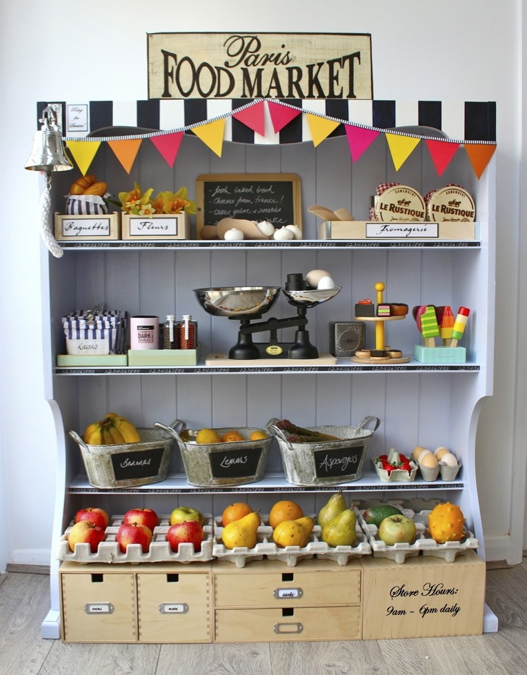 diy parisian kids play market shelves