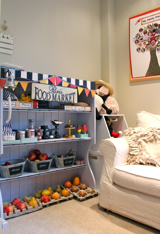 Playroom wall with shop