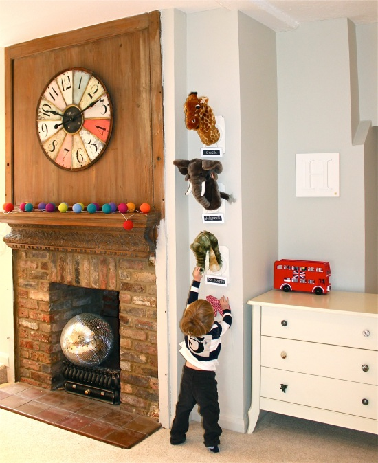 Playroom with fireplace