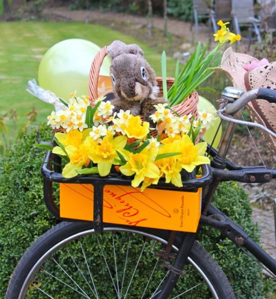 easter basket in bicycle