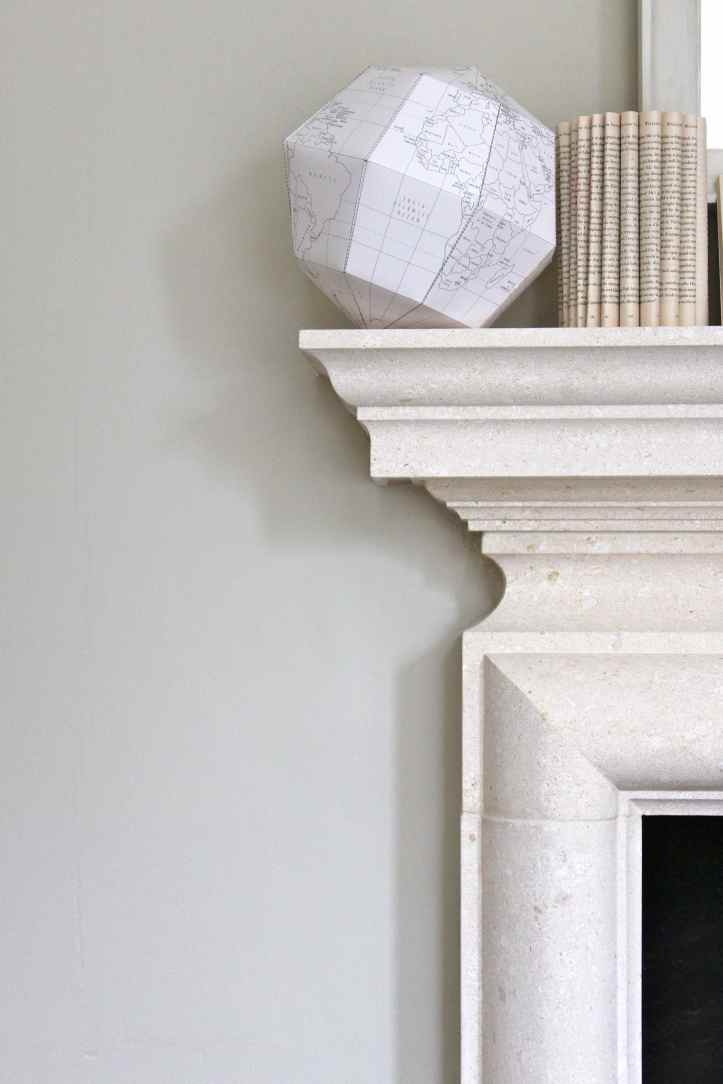paper globe on mantel