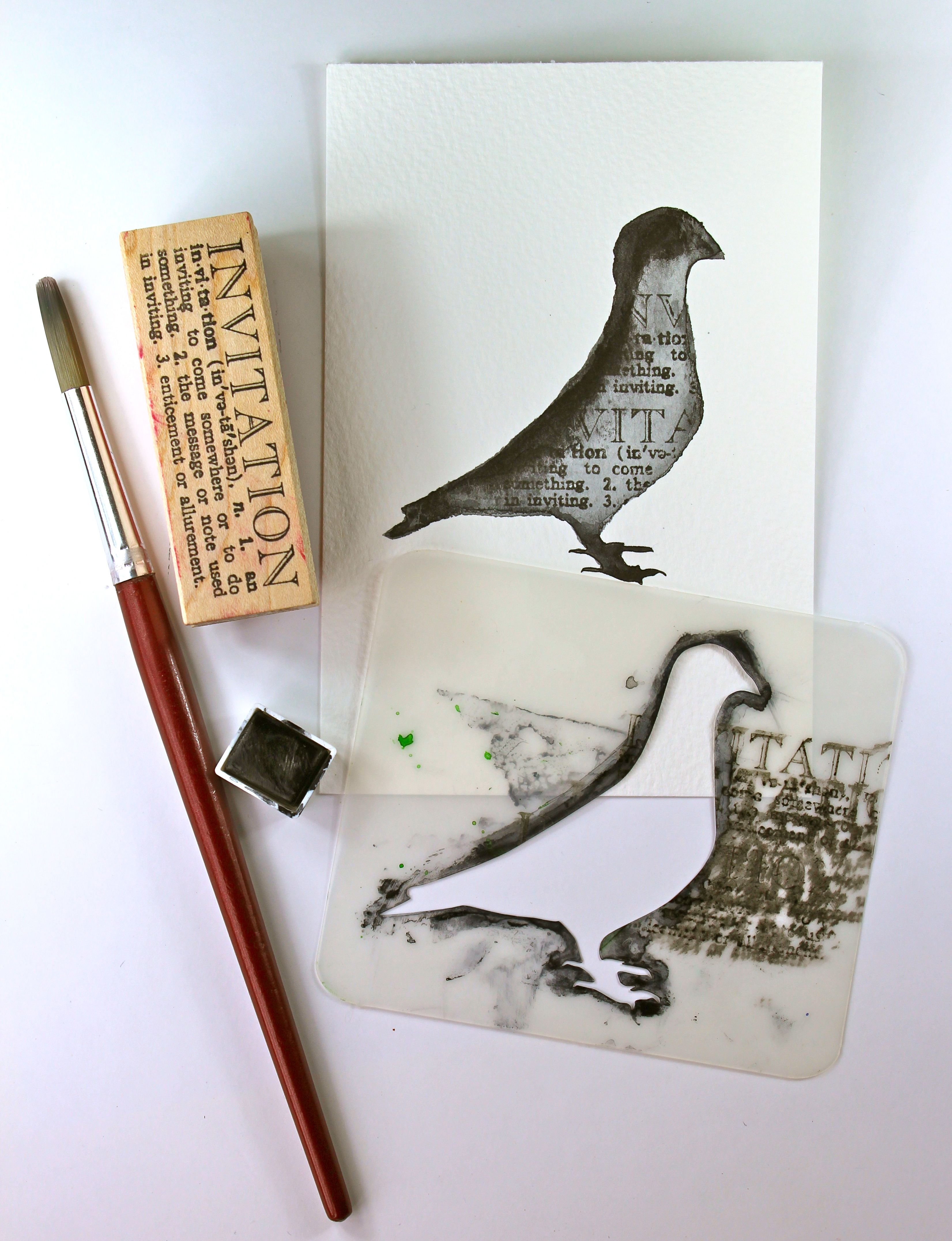 Kate's Creative Space and Watercolor Pigeon-stencil-how-to